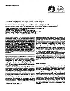Antibiotic Prophylaxis and Open Groin Hernia Repair