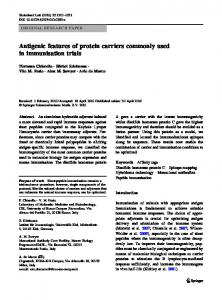 Antigenic features of protein carriers commonly used in immunisation trials