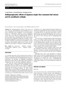 Antihyperglycemic effects of Japanese maple Acer amoenum leaf extract and its constituent corilagin