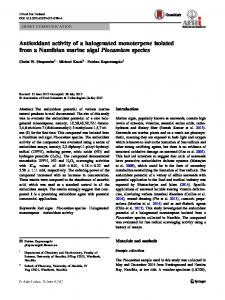 Antioxidant activity of a halogenated monoterpene isolated from a Namibian marine algal Plocamium species