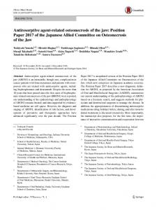 Antiresorptive agent-related osteonecrosis of the jaw: Position Paper 2017 of the Japanese Allied Committee on Osteonecrosis of the Jaw