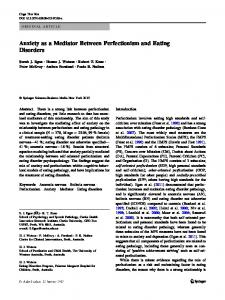Anxiety as a Mediator Between Perfectionism and Eating Disorders