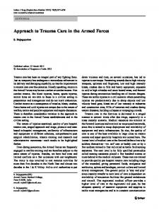 Approach to Trauma Care in the Armed Forces