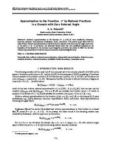 Approximation to the function z  α  by rational fractions in a domain with zero external angle