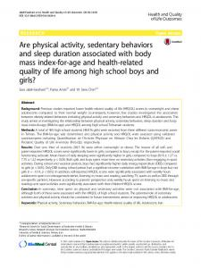 Are physical activity, sedentary behaviors and sleep duration associated with body mass index-for-age and health-related quality of life among high school boys and girls?