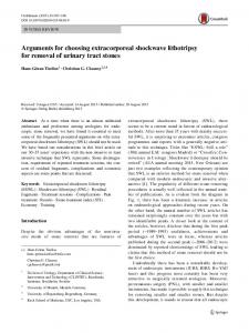 Arguments for choosing extracorporeal shockwave lithotripsy for removal of urinary tract stones
