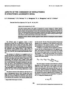 Aspects of the corrosion of refractories in structured aggressive media