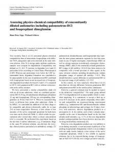 Assessing physico-chemical compatibility of concomitantly diluted antiemetics including palonosetron-HCl and fosaprepitant dimeglumine