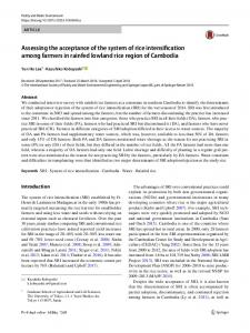 Assessing the acceptance of the system of rice intensification among farmers in rainfed lowland rice region of Cambodia