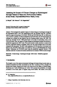 Assessing the Impact of Climate Changes on Hydrological Drought Based on Reservoir Performance Indices (Case Study: ZayandehRud River Basin, Iran)
