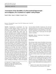 Assessment of the durability of robot-assisted laparoscopic sacrocolpopexy for treatment of vaginal vault prolapse