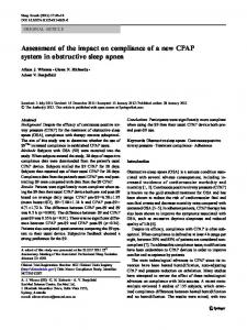 Assessment of the impact on compliance of a new CPAP system in obstructive sleep apnea
