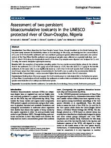 Assessment of two persistent bioaccumulative toxicants in the UNESCO protected river of Osun-Osogbo, Nigeria