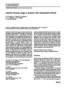 Assistive devices: usage in patients with rheumatoid arthritis