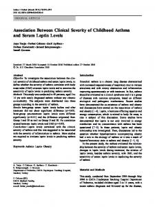 Association Between Clinical Severity of Childhood Asthma and Serum Leptin Levels