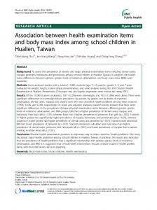 Association between health examination items and body mass index among school children in Hualien, Taiwan