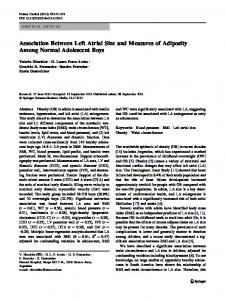 Association Between Left Atrial Size and Measures of Adiposity Among Normal Adolescent Boys