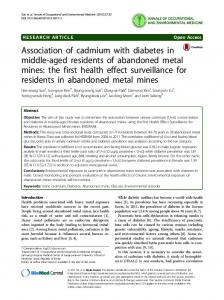 Association of cadmium with diabetes in middle-aged residents of abandoned metal mines: the first health effect surveillance for residents in abandoned metal mines