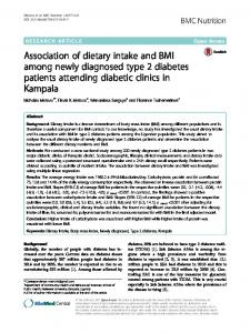 Association of dietary intake and BMI among newly diagnosed type 2 diabetes patients attending diabetic clinics in Kampala