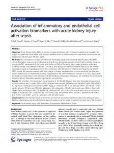 Association of inflammatory and endothelial cell activation biomarkers with acute kidney injury after sepsis