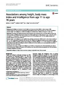 Associations among height, body mass index and intelligence from age 11 to age 78 years