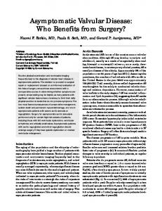 Asymptomatic valvular disease: Who benefits from surgery?
