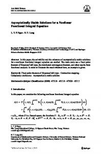 Asymptotically Stable Solutions for a Nonlinear Functional Integral Equation