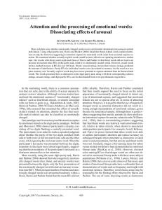 Attention and the processing of emotional words: Dissociating effects of arousal