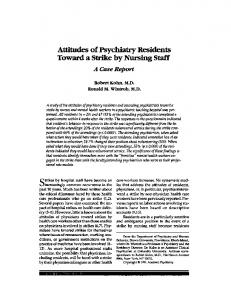 Attitudes of Psychiatry Residents Toward a Strike by Nursing Staff