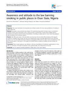 Awareness and attitude to the law banning smoking in public places in Osun State, Nigeria