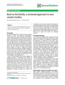 Back to the family: a renewed approach to rare variant studies