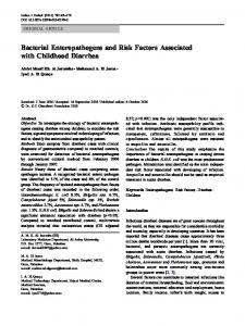 Bacterial Enteropathogens and Risk Factors Associated with Childhood Diarrhea