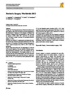 Bariatric Surgery Worldwide 2013