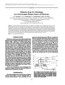 Behavior of an arc discharge in a forevacuum plasma source of electrons
