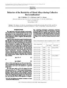 Behavior of the resistivity of metal alloys during collective recrystallization
