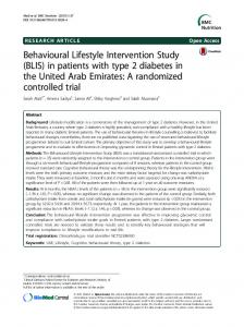 Behavioural Lifestyle Intervention Study (BLIS) in patients with type 2 diabetes in the United Arab Emirates: A randomized controlled trial