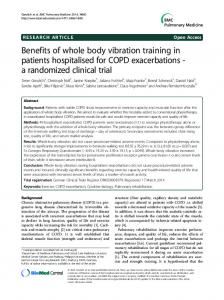 Benefits of whole body vibration training in patients hospitalised for COPD exacerbations - a randomized clinical trial