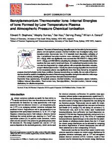 Benzylammonium Thermometer Ions: Internal Energies of Ions Formed by Low Temperature Plasma and Atmospheric Pressure Chemical Ionization