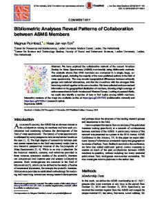Bibliometric Analyses Reveal Patterns of Collaboration between ASMS Members