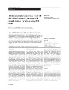 Bifid mandibular condyle: a study of the clinical features, patterns and morphological variations using CT scans