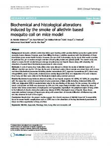 Biochemical and histological alterations induced by the smoke of allethrin based mosquito coil on mice model