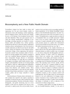 Biocomplexity and a New Public Health Domain