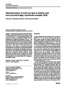 Biodecolorization of textile azo dyes by isolated yeast from activated sludge: Issatchenkia orientalis JKS6