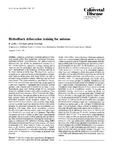 Biofeedback defaecation training for anismus
