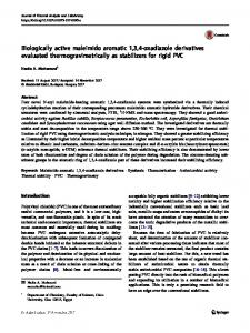 Biologically active maleimido aromatic 1,3,4-oxadiazole derivatives evaluated thermogravimetrically as stabilizers for rigid PVC