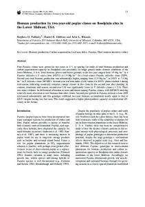 Biomass production by two-year-old poplar clones on floodplain sites in the Lower Midwest, USA