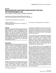 Bisphosphonate-associated osteonecrosis of the jaw: the rheumatologist's role