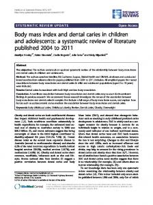 Body mass index and dental caries in children and adolescents: a systematic review of literature published 2004 to 2011