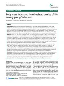 Body mass index and health-related quality of life among young Swiss men
