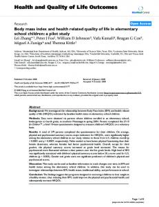 Body mass index and health related quality of life in elementary school children: a pilot study